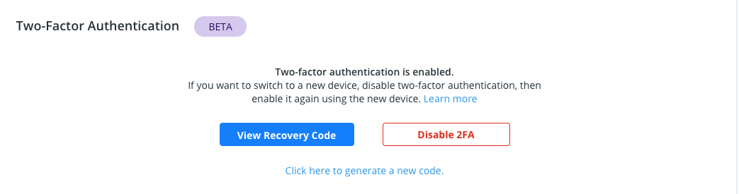 New recovery code link